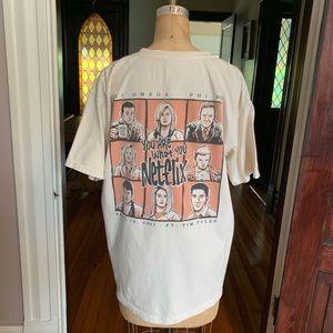 Comfort Colors Omega Netflix Sorority Shirt L EUC